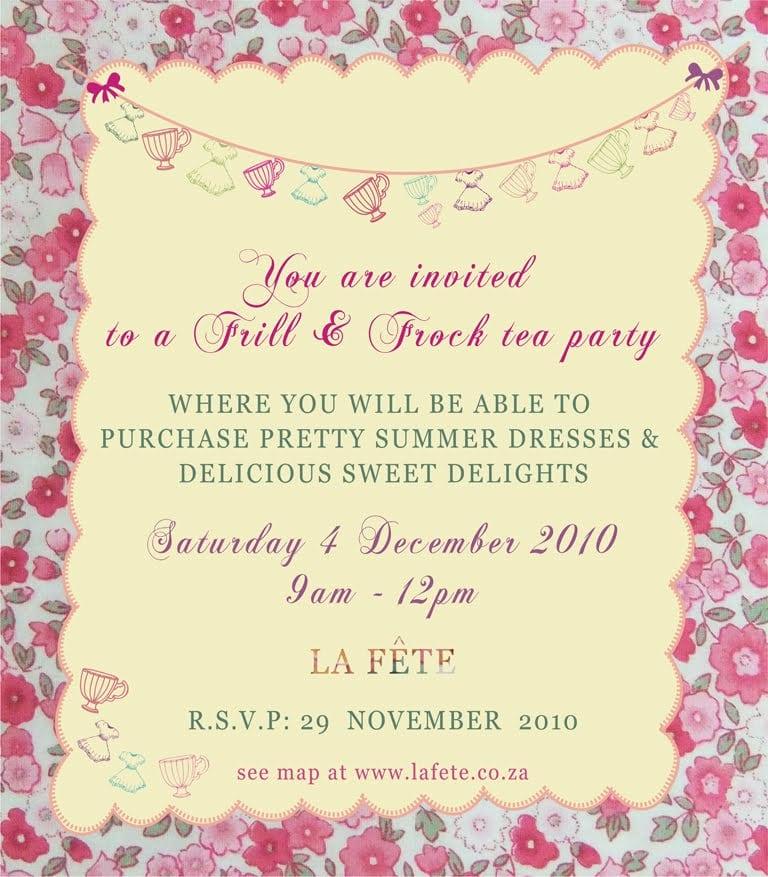 Tea Party Invite Template Invitation For Tea Party