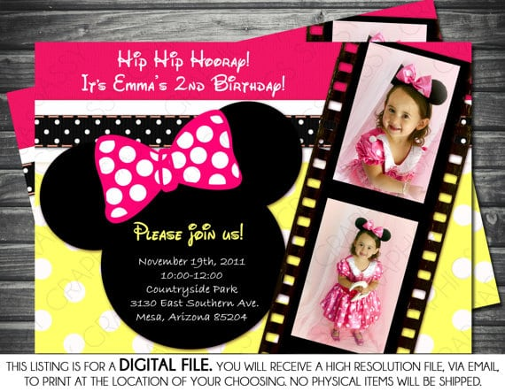 Invitation Minnie Mouse Template Yellow And Pink