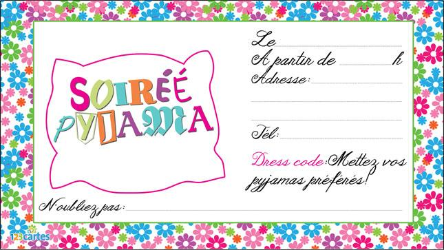 Invitation Pyjama Party Gratuite