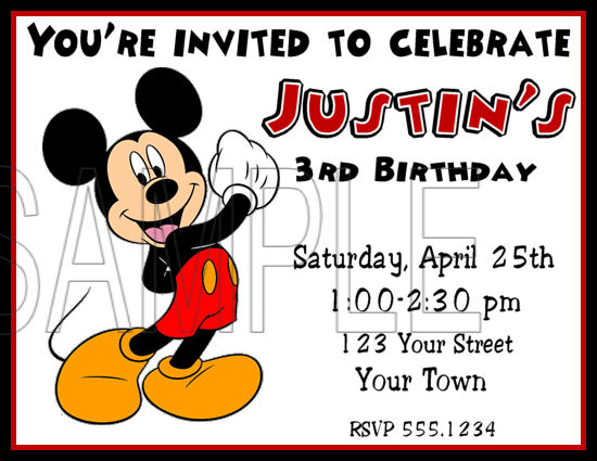 Invitation Template Mickey Mouse