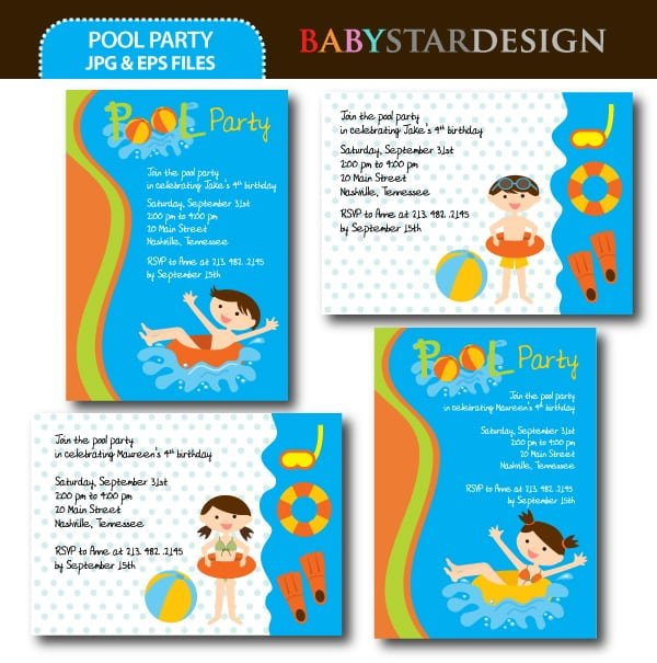 Invitation Template Pool Party