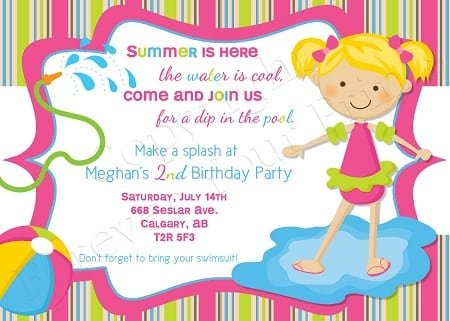 Invitation To A Pool Party Birthday