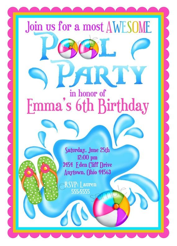 Invitations For A Pool Party For A Girl