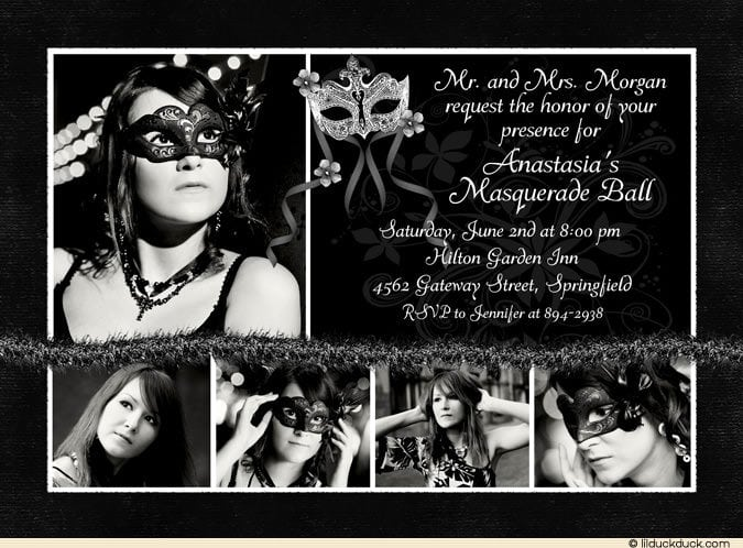 Invitations For Sweet 16 Masquerade Party