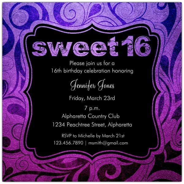 Invitations For Sweet Sixteen Birthday Party