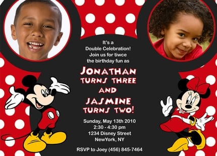Invitations Of Mickey And Minnie Mouse