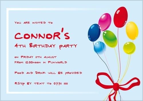 Kid Birthday Party Invitation Wording