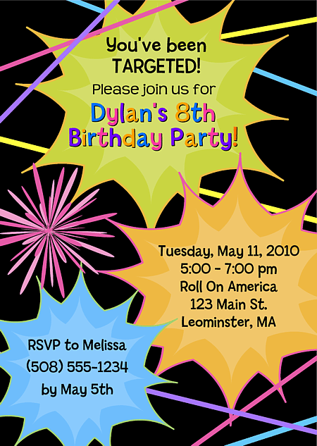 Laser Tag Birthday Party Invitation Ideas