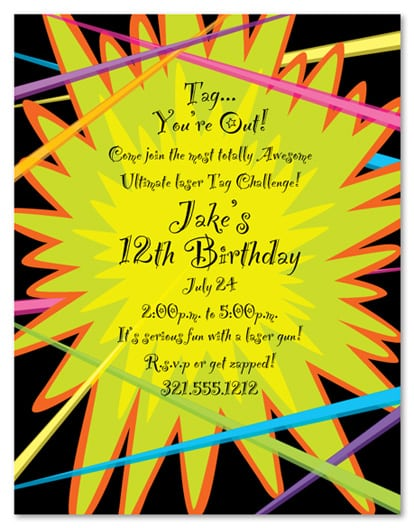 Laser Tag Birthday Party Invitation Wording