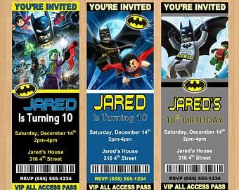 Lego Batman Ticket Invitations