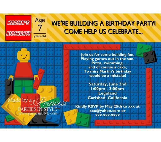 Lego Birthday Party Invitations Template Choice Image Invitation