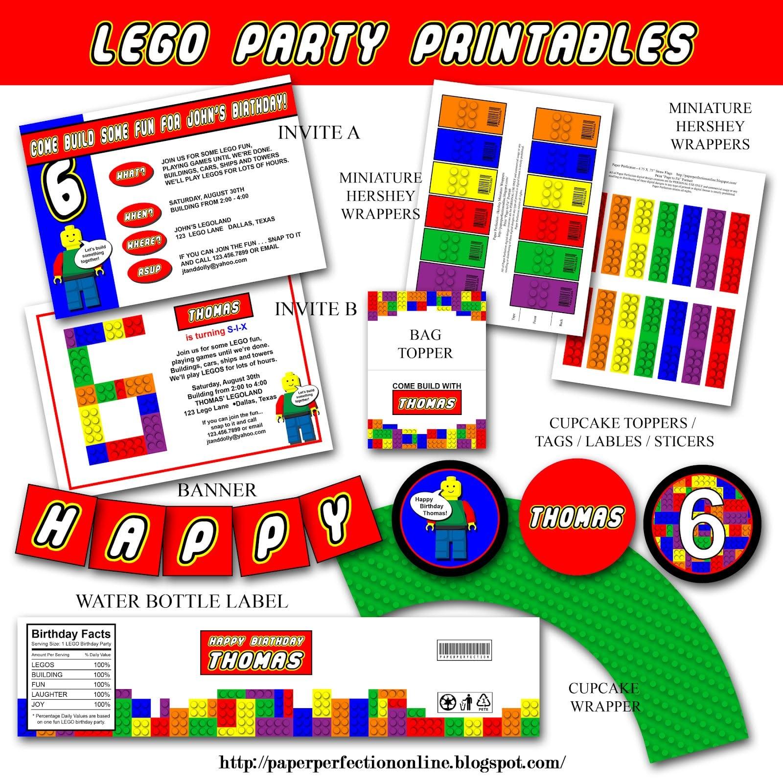 Lego Birthday Party Printable Invitations
