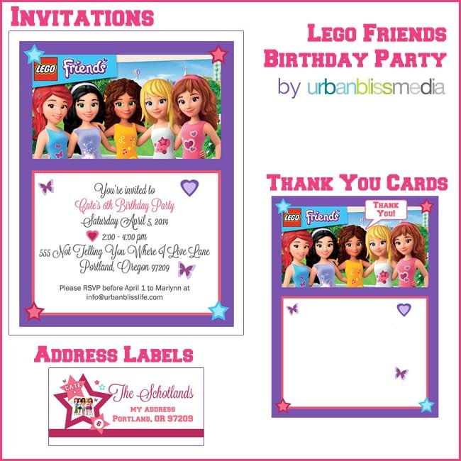 Lego Friends Birthday Invitation Template