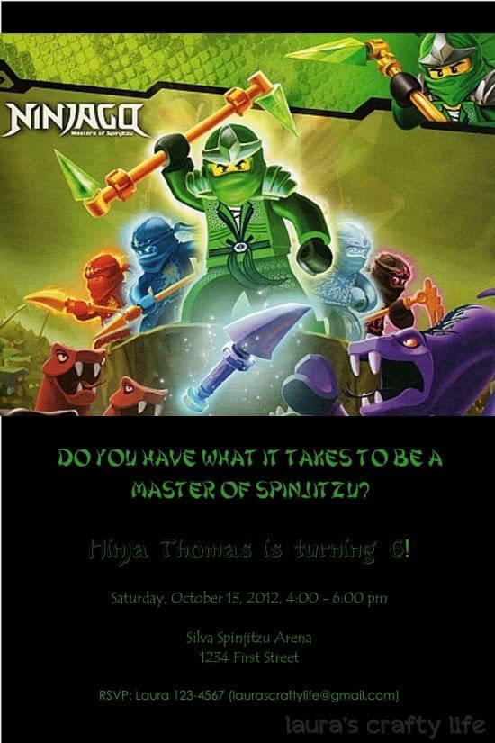 Lego Ninjago Party Invitations Printable Free