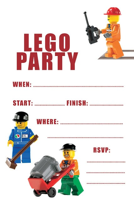 Lego Party Invitations Template Free