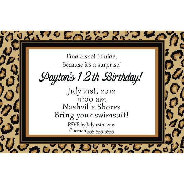 Leopard Print Invitations Free