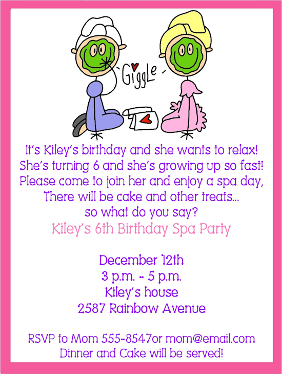 Little Girl Spa Party Invitation Wording