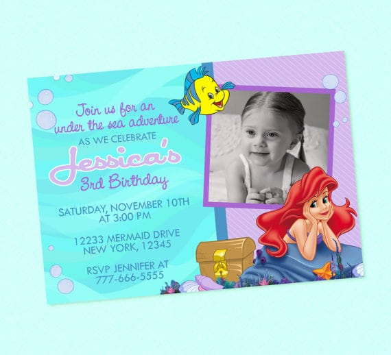 Little Mermaid Invitations Etsy