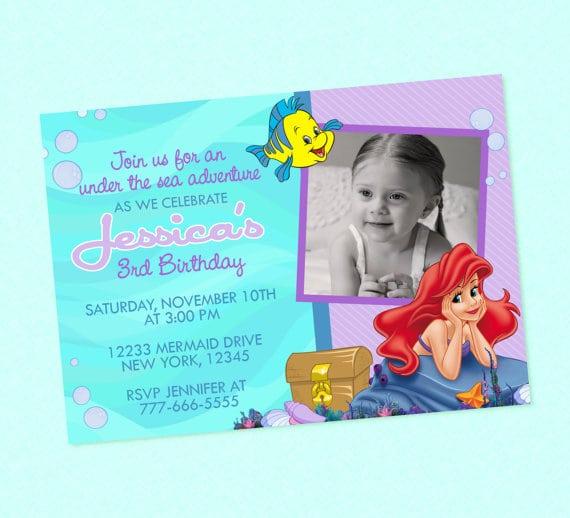 Little Mermaid Invitations Etsy