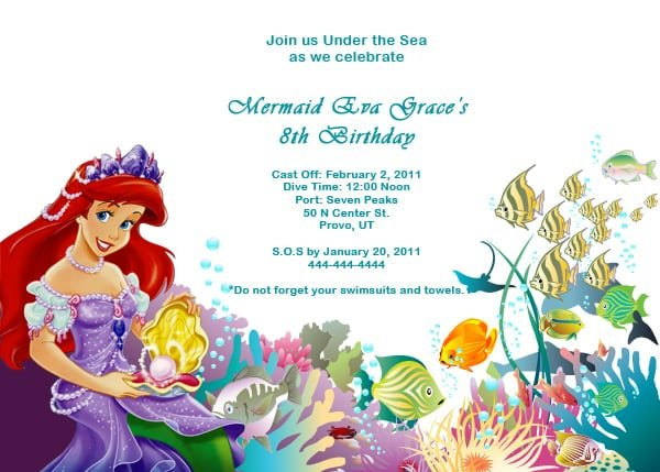 Little Mermaid Invitations Templates