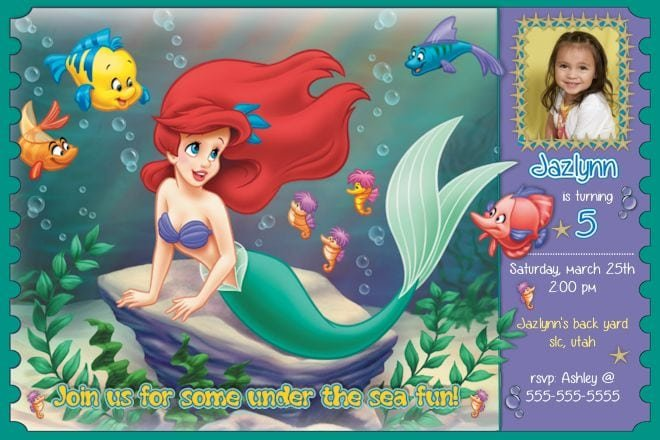 Little Mermaid Invitations Templates Free