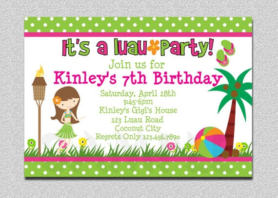 Luau Birthday Party Invitations Free Printable