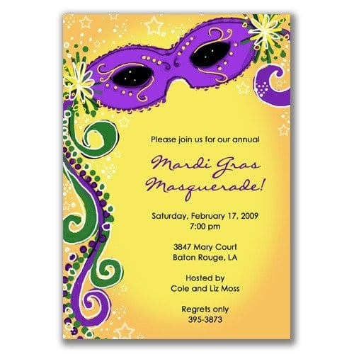 Mardi Gras Invitations Pinterest