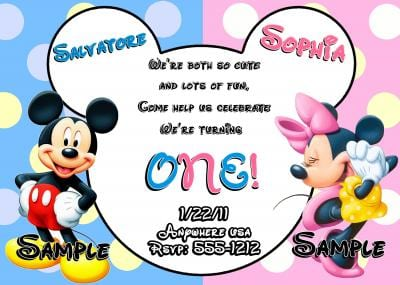 Mickey And Minnie Mouse Birthday Invitations For Twins