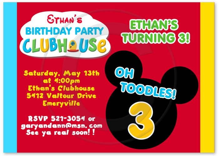 Mickey Birthday Invitation Wording