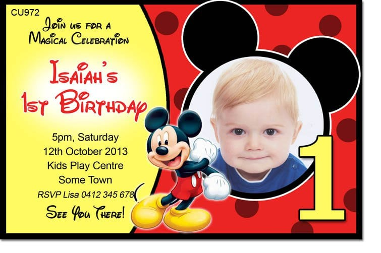 Mickey Mouse B Day Invitation