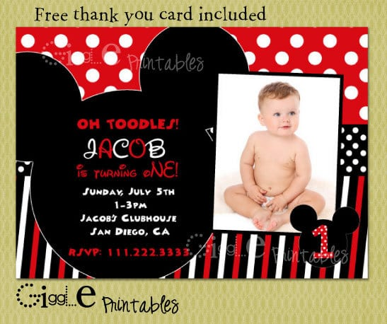 Mickey Mouse Birthday Invitation Free