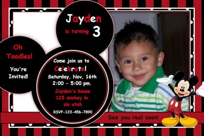 Mickey Mouse Birthday Invitation Samples