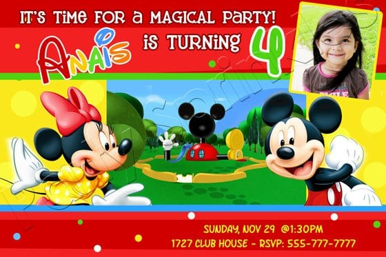 Mickey Mouse Birthday Invitations With Photo