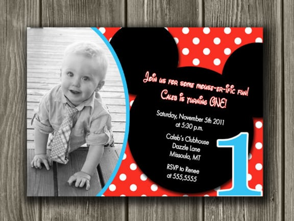 Mickey Mouse Inspired Baptismal Invitation