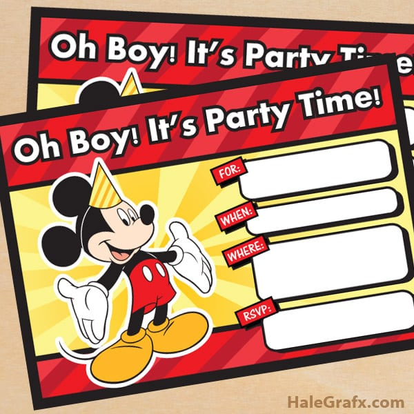 Mickey Mouse Invitation Free Printable