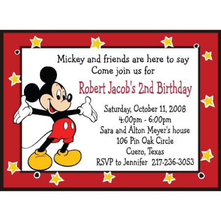 Mickey Mouse Invitation Wording