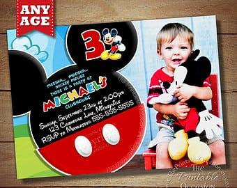 Mickey Mouse Invitations Etsy