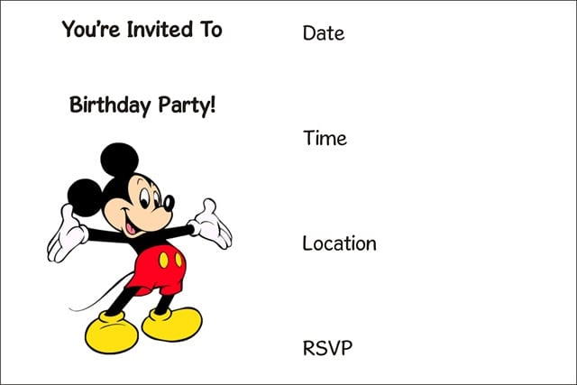 Mickey Mouse Printables Invitations