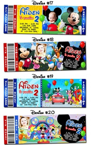 Mickey Ticket Invites