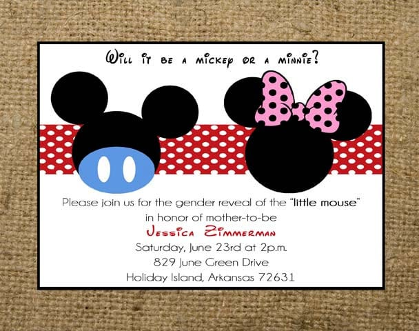 Minnie And Mickey Mouse Baby Shower Invitations