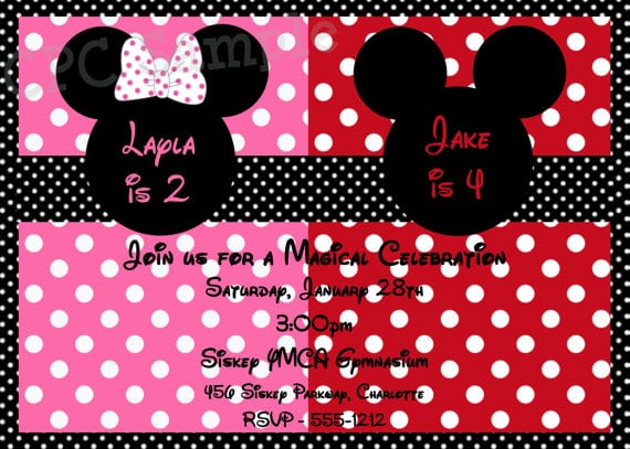 Minnie And Mickey Mouse Party Invitations