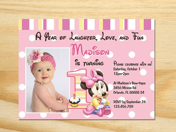 Minnie Mouse 1st Birthday Invitations Uk