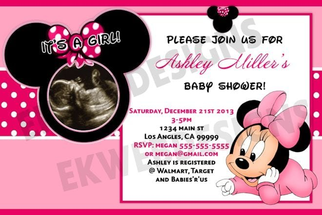 Minnie Mouse Baby Shower Invitations Free Template
