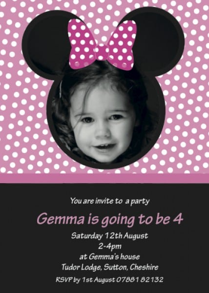 Minnie Mouse Baptism Invitation