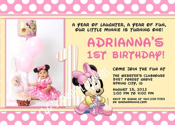 Minnie Mouse First Birthday Invitations Etsy 400 X 285 570 407