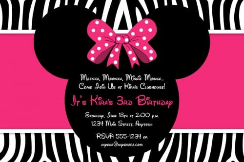 Minnie Mouse Zebra Invitations Templates