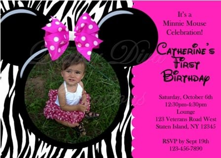 Minnie Mouse Zebra Print Invitations