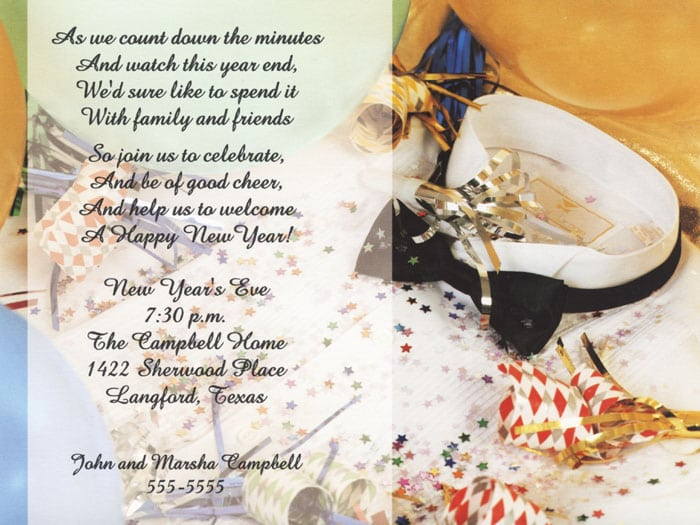 Wedding Invitation Wording New Years Eve Yaseen for – New Year Invitation Template