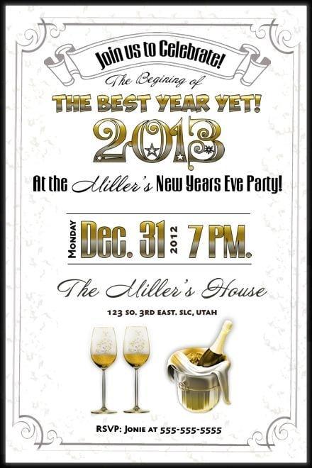 New Years Invitations Printable