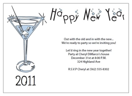 New Years Invitations Wording